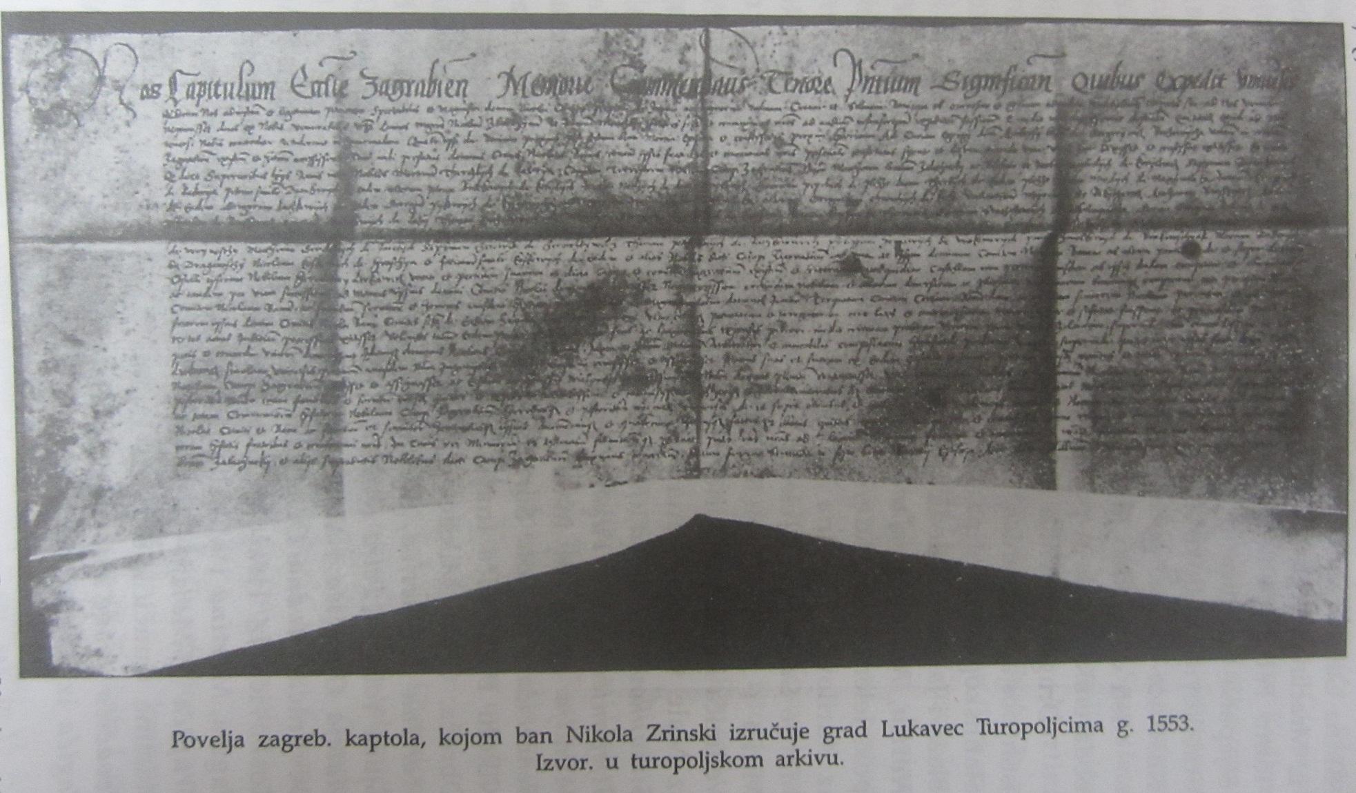 Kaptolska povelja kojom se Lukavec izručuje Turopoljcima (1553.)